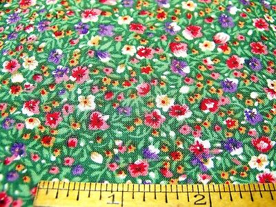 "Vintage Cotton ~ SCRAP ~ TINY FLORAL Red Pink Green Purple White 22"" x 9"" Inv8"