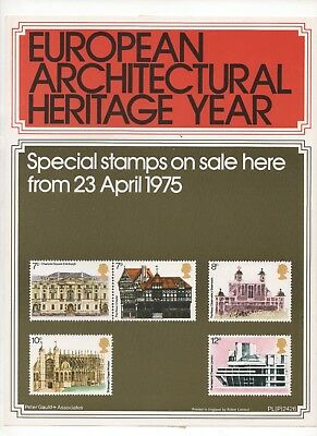 1975 Post Office A4 Poster Grille Card - European Architectural Year