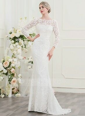 Ivory Trumpet/mermaid Lace Wedding Dress size 8 Three quarter sleeves