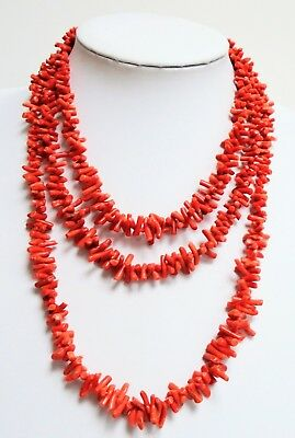 Gorgeous vintage Deco 2 row real coral necklace + 1