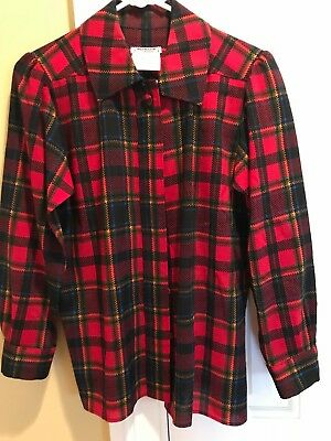 Vintage Yves Saint Laurent rive gauche red plaid lt. wt. wool blouse sz 38