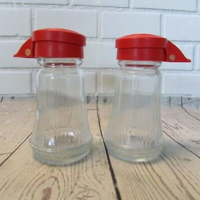 """Vintage Salt & Pepper Shakers Clear Ribbed Glass Red Flip Top Lids 4"""" Tall *Read"""