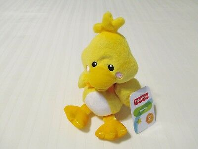 """9"""" Fisher Price Prestige Yellow Duck Bean Bag Plush Baby Toy 95702 All Tags EC"""