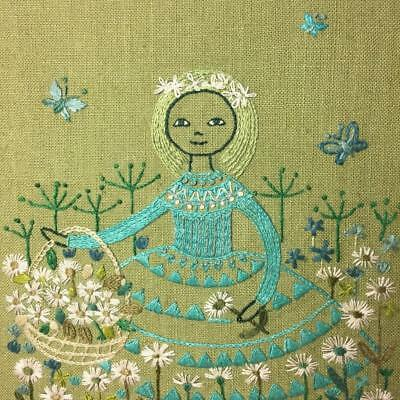 MCM Blonde Girl Blue Dress Flowers Green Framed Completed Embroidery Needlepoint