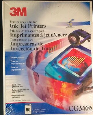 New 3M Transparency Film 50 Sheets CG3460 8.5 x 11 HP Color Ink Jet Printers