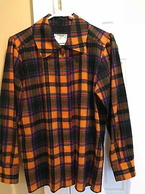 Vintage Yves Saint Laurent rive gauche rust plaid lt. wt. wool blouse sz 38