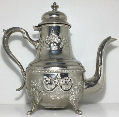 Vintage Silver Plated Teapot Moroccan Arabic Turkish Vintage