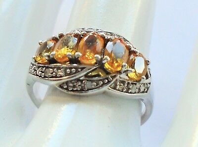 Fine quality vintage sterling silver, citrine & diamond paste ring