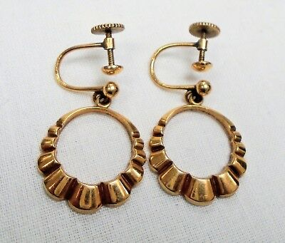 Pair good quality vintage Deco 9ct rolled gold pendant earrings
