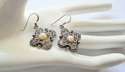 Pair stunning large vintage sterling silver, pearl & marcasite pendant earrings