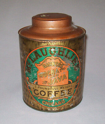 Old Antique Vtg McLaughlins Coffee Bankers Mocha and Java 1 Pound Tin Litho Can