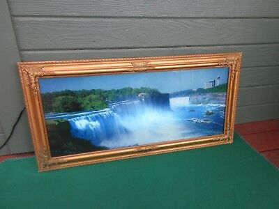 Vintage Lighted Motion Moving Waterfall Picture Lamp Light