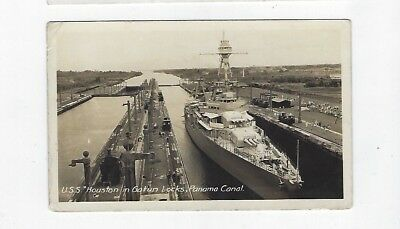 Panama Canal Zone USS Houston in Panama Canal c. 1930