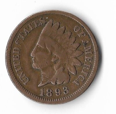 Rare Very Old Antique Collectible US 1893 Indian Head Penny USA Coin Collection