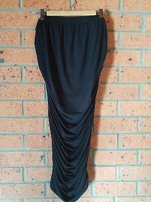 ASOS long black maternity midi skirt 12 ruched sides EUC