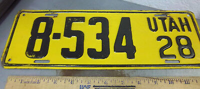 UTAH metal License plate 1928 LOW NUMBER 8-534, RARE PLATE, very good *
