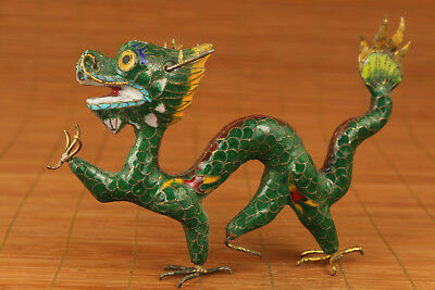 Valuable Big chinese old Cloisonne Hand Carved Dragon Statue Figure
