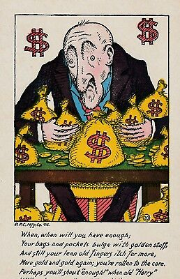 Fantastic 'The Miser' US Political Comic PC. 1906.