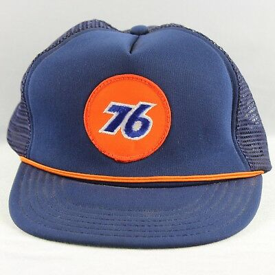 Vtg Union 76 Oil Co Unitog Snapback Mesh Truckers Hat Cap Patch Blue Made In USA