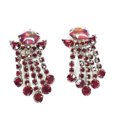 Unsigned SCHIAPARELLI Vintage Clip Earrings Red AB Glass Dangle Rhinestone X58