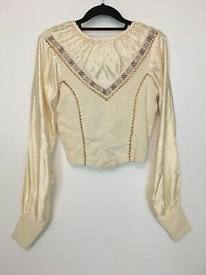 Vintage 1940s 50s White Cream Satin Blouse Squaw Patio Top Set Gold Rick Rack SM