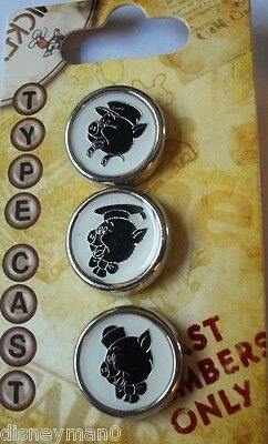 Disney The Three Little Pigs Type Cast 3 Pin Set Cast Members Only LE 500
