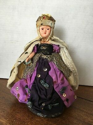 Vintage English queen porcelain doll, bought during QEII's coronation