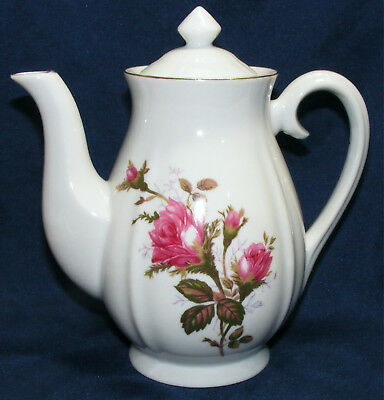 vintage MOSS ROSE Japan Porcelain TEA POT White with RED ROSES