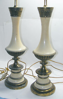 pair of ANTIQUE Metal CAST TABLE LAMPS Bronzed AND Painted FOR PARTS & REPAIRS