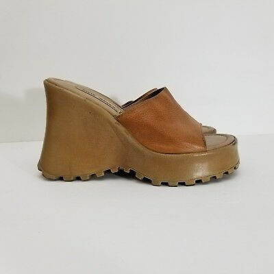3d128d71f254 Vtg 90s Steve Madden Ginnie Chunky Leather Wedge Sz 7.5 Platform Sandals  Womens