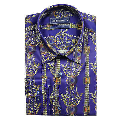 Oscar Banks Men's Dress Shirt Satin Silk Feel Retro Gold Mosaic Print on Blue