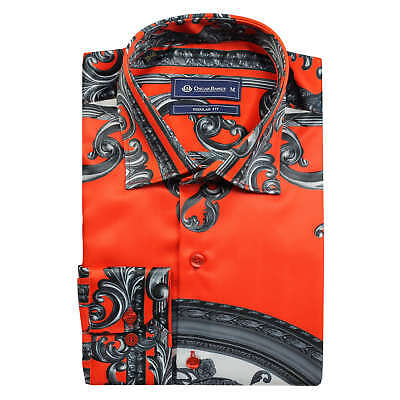 Oscar Banks Men's Orange Red Floral Baroque Print Satin Silk Feel Dress Shirt