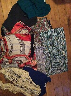 Lot Of Womens Clothes Size Large Preowned School College Variety Of Shirts Skirt