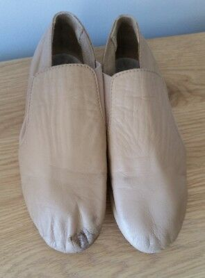 Bloch Split Sole Elasta Bootie Jazz Shoes Tan Leather Size kids 1