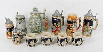 11 Hand Crafted Collectible Beer Steins Mug Lot