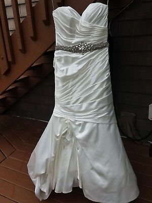 MUST GO! Maggie Sottero  Monica couture ruched dress with crystal sash- size 10