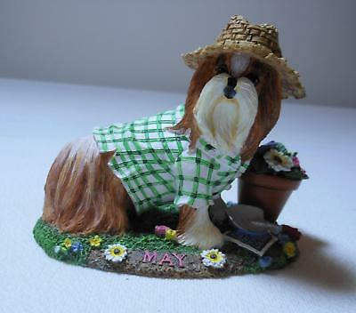 Danbury Mint Shih Tzu DOG SCULPTURE May Figurine Dig, Plant and Grow Garden Time