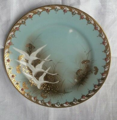 Antique Nippon Plate Flying Geese Swans Rare Collectable Hand Painted #1 Small