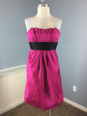08ebbadc5595 KAY UNGER Hot Pink Black strapless Cocktail Formal Dress Bubble S 4 100%  Silk