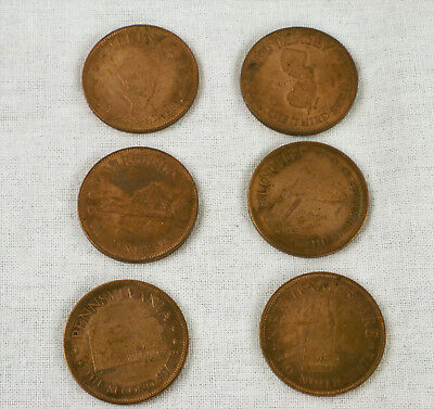 Lot of 6 States of the Union Trade Tokens from Shell's Coin Game