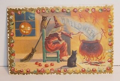 Vintage 1909 Taggart Halloween Witch Postcard that is used