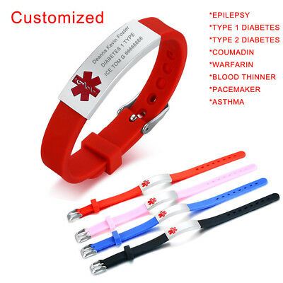 Free Engraving Medical Alert ID Women Men Kid Child Bracelet Silicone Wristband