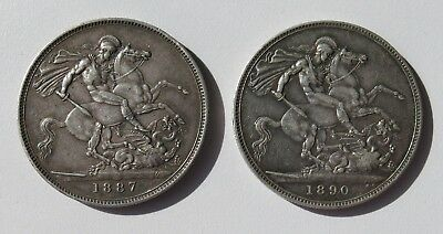 2x Great Britain 1887-90 Queen Victoria Jubilee Head Sterling Silver Crown Coins