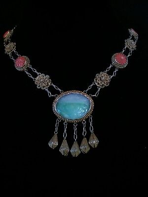 Antique Sterling Silver Special Carved Jade and Coral Filigree Necklace Handmade