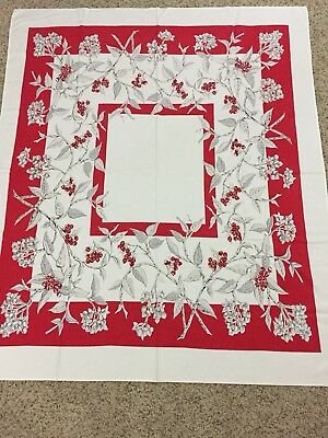 "VTG Tablecloth 43"" X 51"" White Twigs Red Berries"