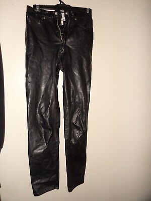 ladies black LEATHER PANTS JOSEPH SABA FOR STAGGERS SIZE 10 RETRO VINTAGE