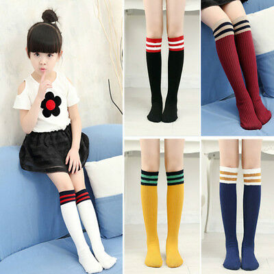 Kids Girls Knee High Socks Stocking Cotton Baby Toddler Leg Warm Leggings 3-11 Y