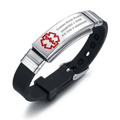Free Engraving Medical Alert ID Women Men Kids Bracelet Black Silicone Wristband