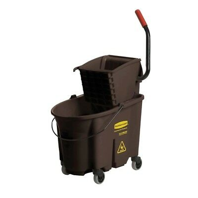 35 Qt. Brown Side-Press Combo Mop Bucket and Wringer System, w/ Premium tubular