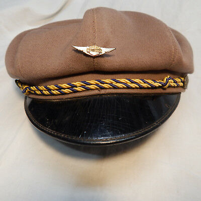Vintage Motorcycle Biker Cap 30/40's With Old Harley-Davidson Winged Pin Size 7